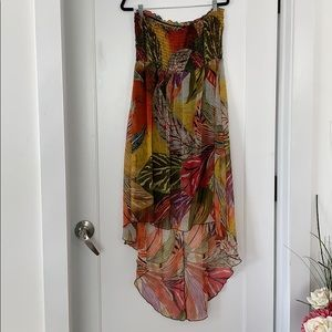 Flowy Bohemian Island-Inspired Strapless Dress 3X